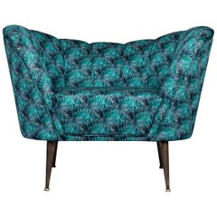 Brabbu Andes Rare II Armchair in Peacock Cotton Velvet with Brass Details