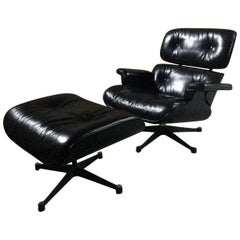 Charles & Ray Eames Lounge Chair and Ottoman 670 and 671 Black Ash Leather