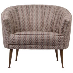 Brabbu Maya Rare II Armchair in Striped Linen with Brass Details