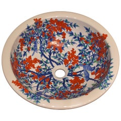 Japanese Contemporary Hand-Painted Porcelain Washbasin by Master Artist