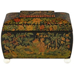 Rare 19th Century Regency Penwork Tea Caddy