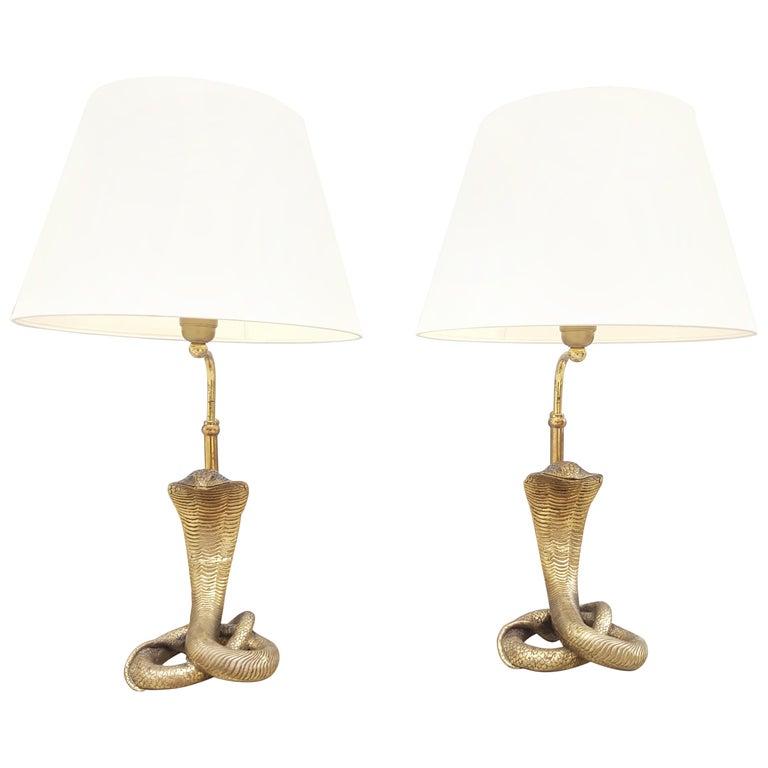 Pair of Full Brass Cobra Snake Lamp Style Maison Jansen