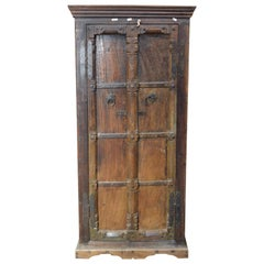 Indian 19th Century Armoire with Metal Braces and Hand-Carved Half Columns