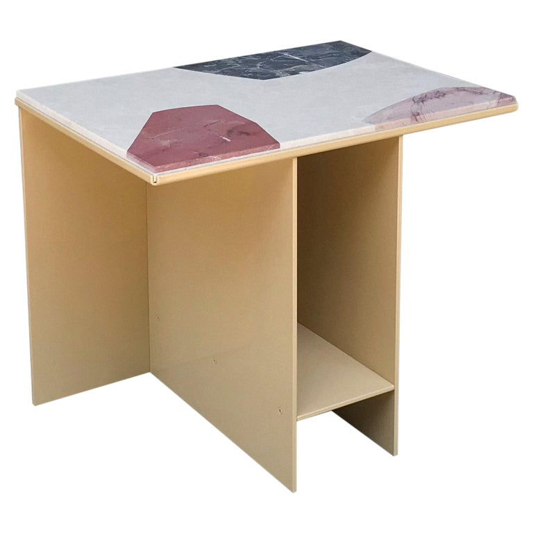 Contemporary Uniform Aluminium Side Table Sand Yellow and Cut-Out Marble Inlay