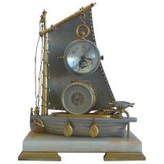 Antique French Industrial Sailboat Compendium Clock
