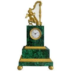 Antique Russian Malachite and Gilt Bronze Mantel Clock