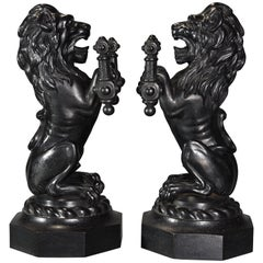 Pair of Fine Quality Late 19th Century Cast Iron Fire Dogs in the Form of Lions