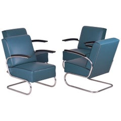4 Tubular Steel Cantilever Armchairs in Art Deco, Chrome, New Blue Leather