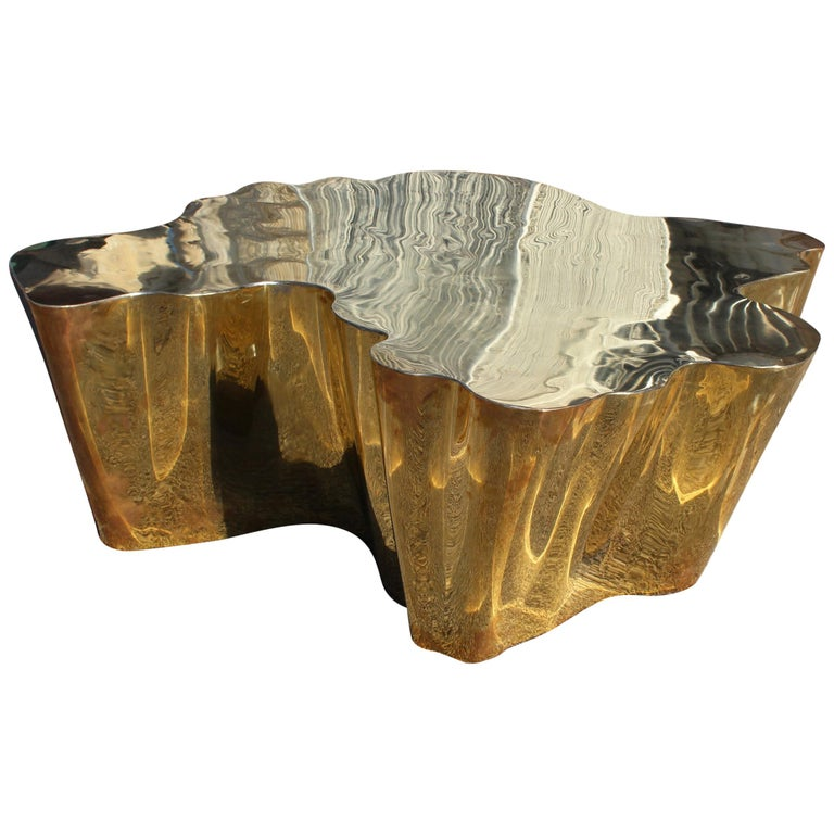 French Modern Gilded Brass Table