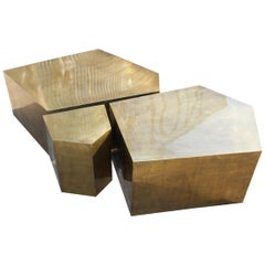 Modern French Gilded Brass Three-Piece Coffee Table