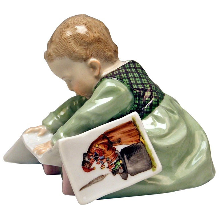 Meissen Hentschel Child Baby Looking at Picture-Book Figurine Model U 149