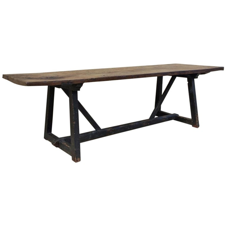17th Century Spanish Refectory Trestle Table Chestnut