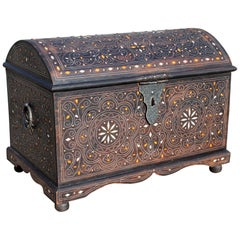 Spanish Wooden Chest with Inlay Decorations and Iron Fittings