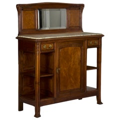 French Art Nouveau Walnut Server Sideboard Buffet, circa 1900
