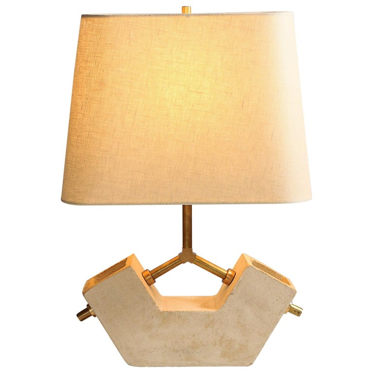 'Conduit Anchor' Brutalist White Ceramic and Brass Table Lamp