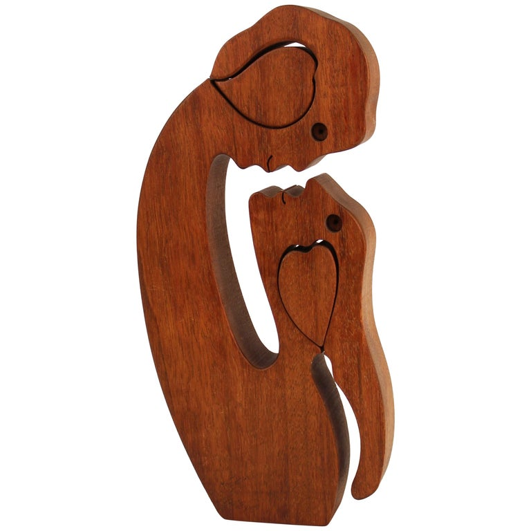 Mid-Century Modern Carved Wood Puzzle Sculpture
