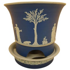 Wedgwood Blue Jasperware Jardinière and Stand