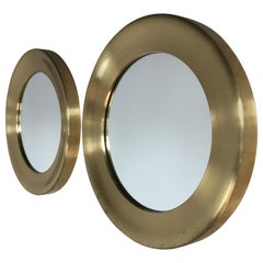 Midcentury Pair of Patinated Brass Mirrors by Glas Mäster Markaryd, Sweden, 1960