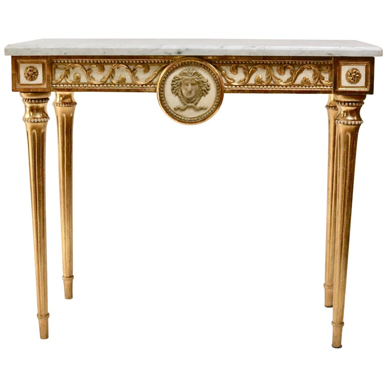 Swedish Gustavian Giltwood Console Table, Marble Top, 18th Century