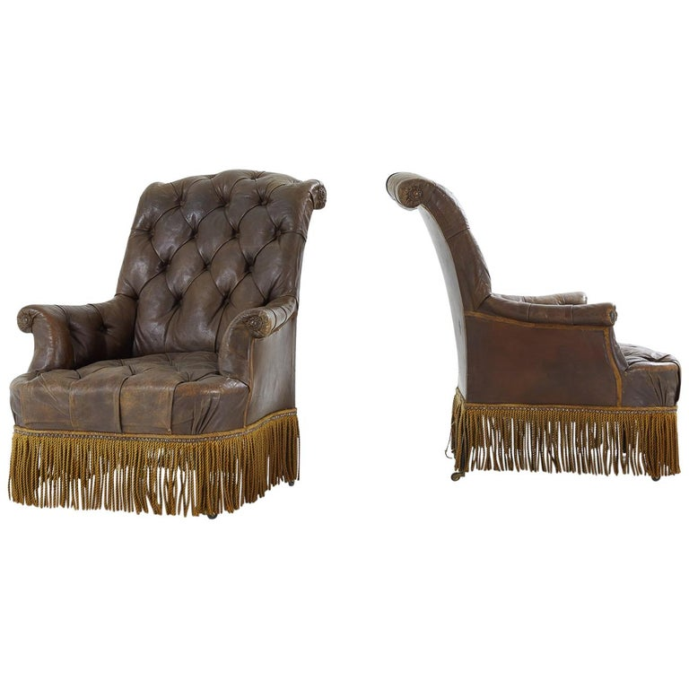 Pair of 19th Century French Leather Chairs
