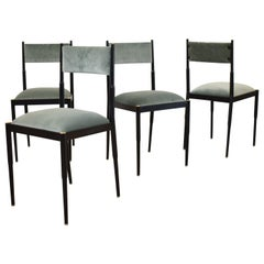 Set of Four Black Metal and Turquoise Velvet Midcentury Italian Dining Chairs