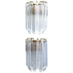 Italian Mid-Century Modern Quadriedri Prism Sconces Attributed to Venini