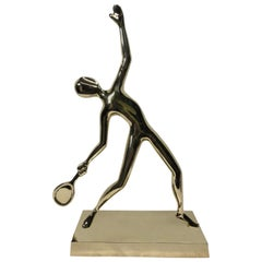 Tennis Player Statue in Polished Solid Brass