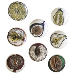Piero Fornasetti Set of Eight Coasters Sezioni Di Frutta Pattern, circa 1960s