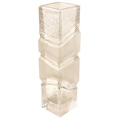 Modern Style Glass Vase with Square Base