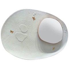 Organic Modern White Grey Leather Mirror, France 2018