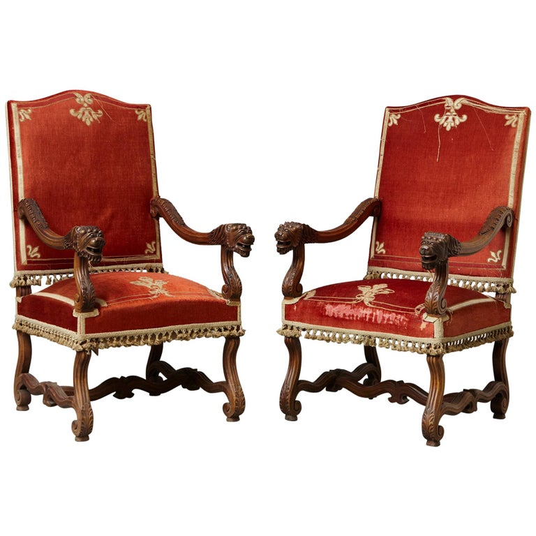 Pair of French Louis XIII Os De Mouton Throne Armchairs with  For Sale