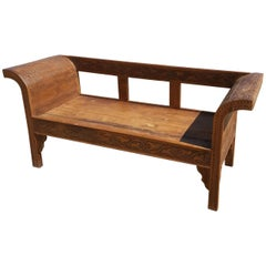 Moroccan Hand-Carved Cedar Wooden Bench, for 2