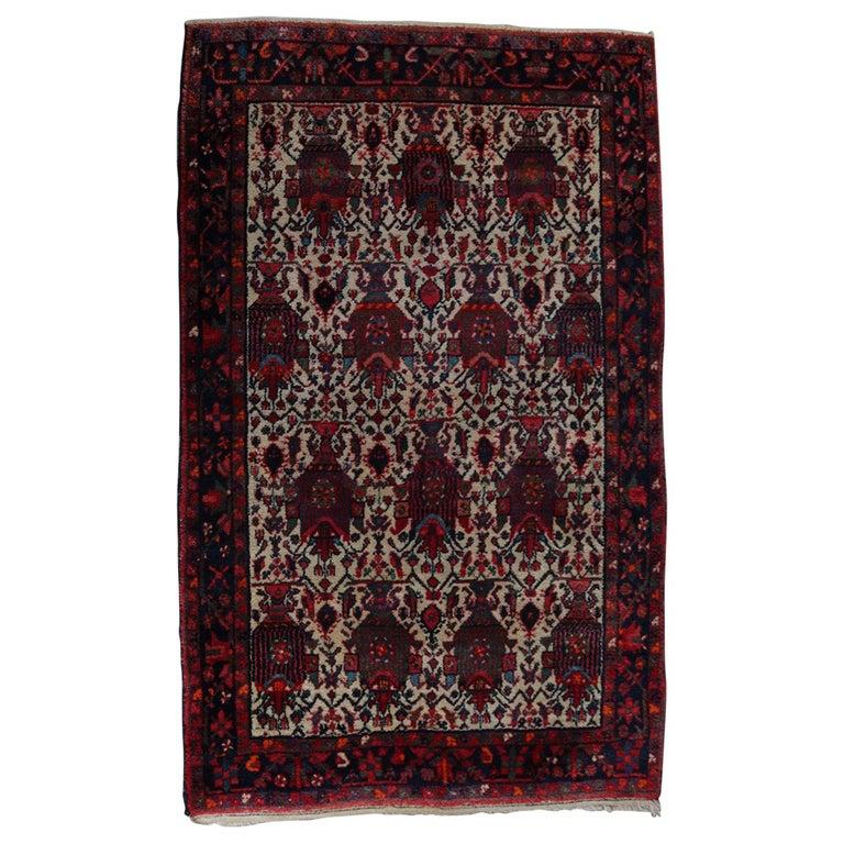 Hand-Knotted Wool Nomadic Persian Garden Urn Bakhtiari, 20th Century