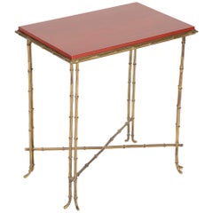 Brass Bamboo Form Cocktail Table by Bagues with Red Lacquered Wood Top
