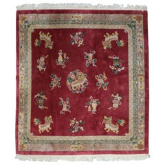Chinese Square Nichols School Hand-Knotted Wool Foo Dog Rug