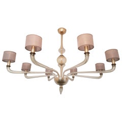 Extra Large Murano Clear Glass Chandelier, Mid-Century Modern by Seguso, 1970s