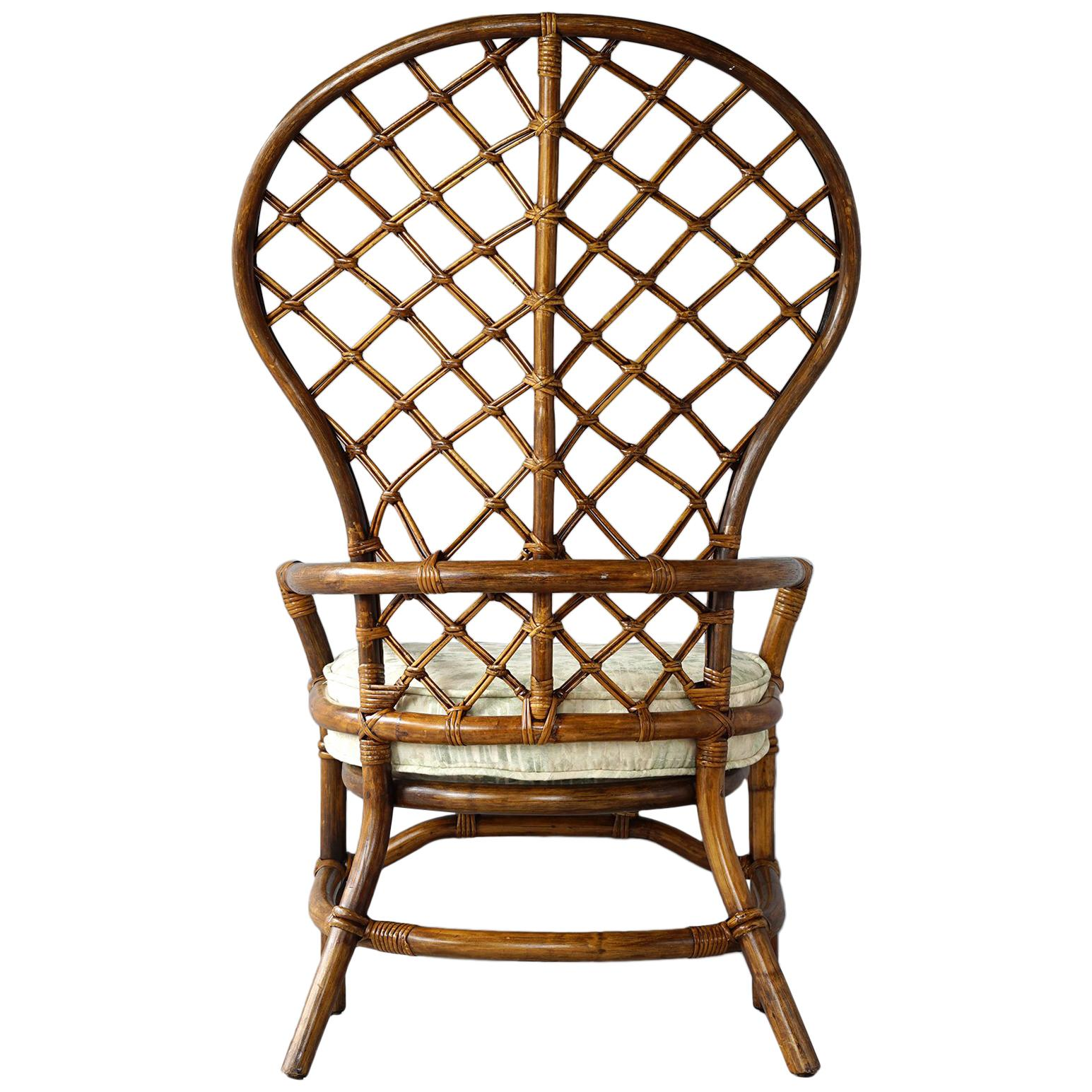 Rattan Wingback Chair For Sale