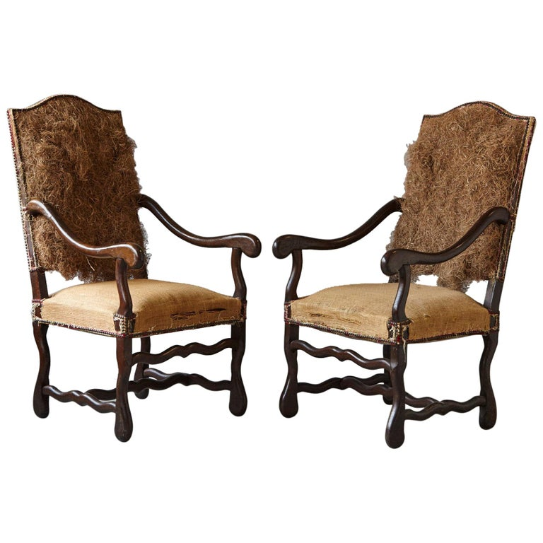 Pair of Louis XIV Style Os de Mouton Fauteuils Styled by Michael Trapp For Sale
