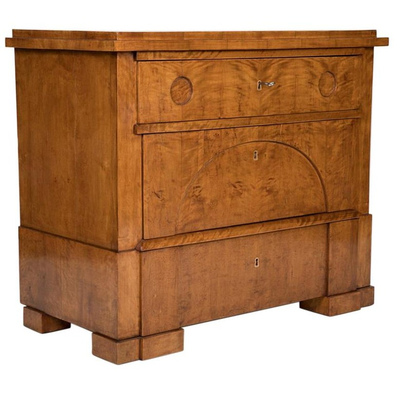 Period Biedermeier Birch Chest with Modern Appeal For Sale