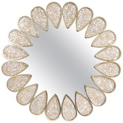 Petal Mother-of-Pearl and Brass Mirror