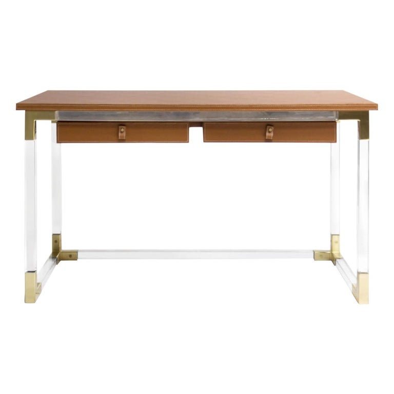 Jacques Desk in Clear Lucite and Brass