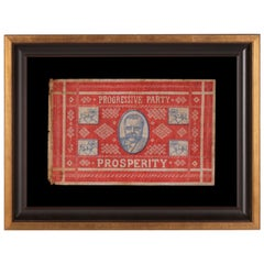 Unusual and Graphic Kerchief Style Parade Flag from Roosevelt's 1912 Campaign