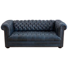 English Tufted Navy Blue Chesterfield Sofa