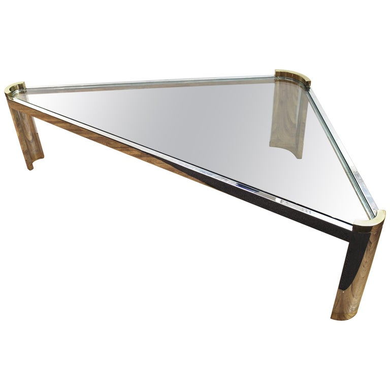 Jay Spectre Modernist Coffee Table with Triangular Frame  For Sale