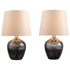 Mottled Mirrored Table Lamps, England circa 1940