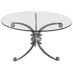 Polished Cast Aluminum French Art Deco Table, circa 1940s