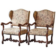 Pair of Louis XIV Style, Os de Mouton, Walnut Wingback Fauteuils