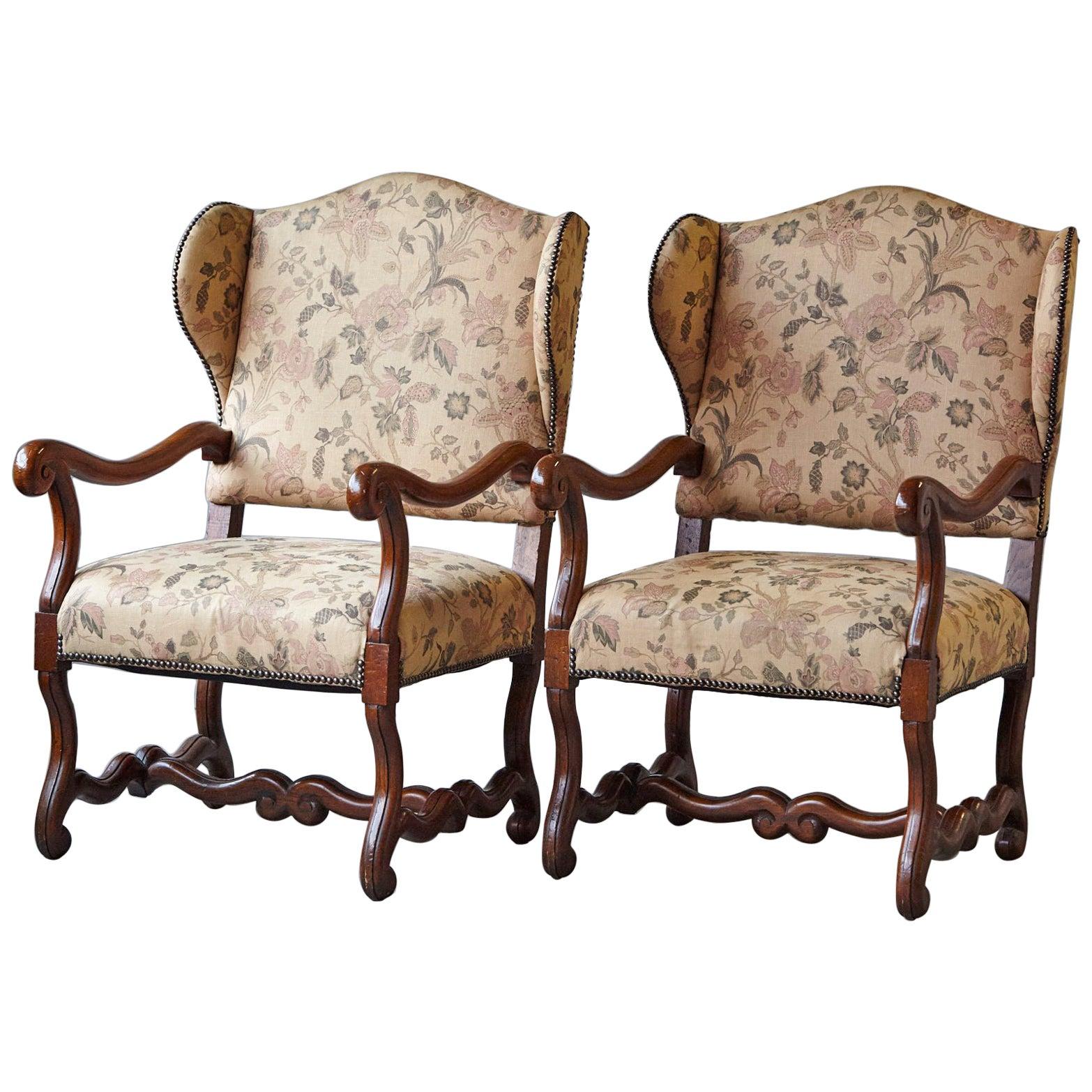 Pair of Louis XIV Style, Os de Mouton, Walnut Wingback Fauteuils
