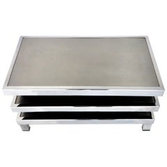 Stainless Steel French Pivoting Side Table or Coffee Table by Mercier Brothers