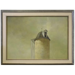 Original Painting Oil on Canvas Silo with Weathervane